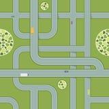 路的无缝的样式有汽车的 空中高速公路视图 免版税库存图片