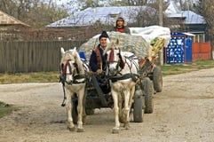 路的罗马尼亚农夫有马和支架的 免版税库存照片