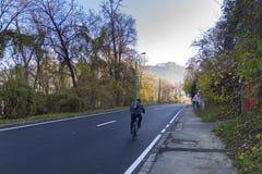 路的自行车骑士 免版税库存照片