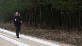 路的远足者在森林附近 股票录像
