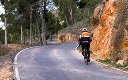 路的骑自行车者 免版税图库摄影