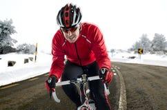 路的骑自行车者 免版税库存照片