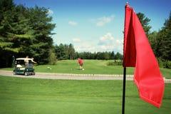 路线标志高尔夫球场面 免版税库存图片