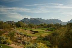 路线沙漠高尔夫球 免版税库存图片
