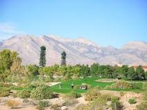 路线沙漠高尔夫球 库存照片