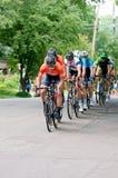 路线的骑自行车者在Stillwater 库存照片