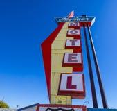 路线的66 -斯特劳德-俄克拉何马- 2017年10月16日时髦的Skyliner汽车旅馆 免版税库存图片