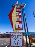 路线的66 -斯特劳德-俄克拉何马- 2017年10月16日时髦的Skyliner汽车旅馆 免版税库存照片