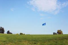 路线空的高尔夫球 库存照片