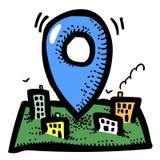 路线象的动画片图象 地方化标志 库存图片