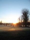 路线高尔夫球日出 免版税图库摄影