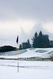 路线高尔夫球早晨多雪的冬天 免版税图库摄影