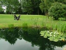 路线高尔夫球池塘 免版税库存照片