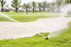 路线高尔夫球浇灌 库存照片