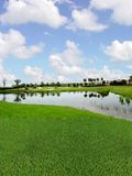 路线高尔夫球湖视图 库存照片