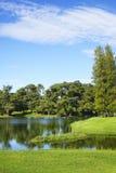 路线高尔夫球湖 免版税库存图片
