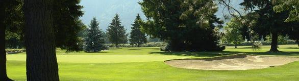 路线高尔夫球绿色砂槽 免版税库存照片