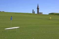 路线高尔夫球sagogn schluein瑞士 库存图片