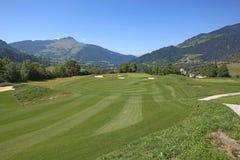 路线高尔夫球sagogn schluein瑞士 库存照片