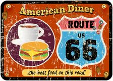 路线66吃饭的客人标志 库存照片