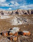 路线66 :蓝色Mesa,彩绘沙漠, AZ 免版税库存图片