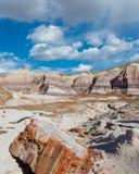 路线66 :蓝色Mesa,彩绘沙漠, AZ 免版税库存照片