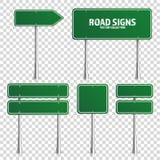 路绿色交通标志 有地方的空白的委员会文本的 大模型 隔绝在透明背景知识标志 免版税库存照片