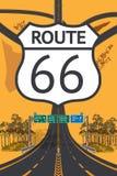 路美好的空中顶视图 路线66概念 库存图片