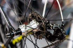 路自行车后轮插孔 库存照片