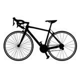 路自行车在白色背景隔绝的传染媒介自行车剪影  库存例证