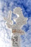 冻路足迹签到冬时, Karkonosze山 免版税库存图片