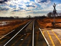 路轨在阳光下 库存照片