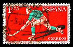 路辗曲棍球,体育serie,大约1960年 图库摄影