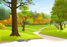 路通过一个有福的森林 库存例证