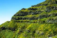 路通过在马德拉岛的海岛的北部的山 库存图片