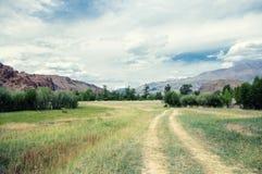路通过在高地山高原的一个干燥沙漠干草原 免版税库存图片