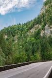 路通过比卡兹峡谷在喀尔巴汗,罗马尼亚 免版税库存图片