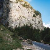 路通过比卡兹峡谷在喀尔巴汗,罗马尼亚 库存图片
