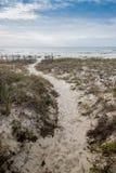 路通过沙丘向海洋 库存图片