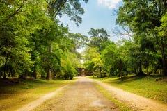 路通过雨林在古老吴哥窟在柬埔寨 库存照片