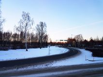 路通过雪 免版税库存图片