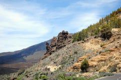 路通过el teide国家公园 免版税库存图片