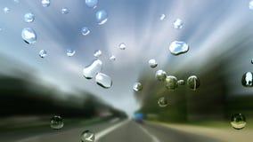路速度在减阻帽,储蓄英尺长度的隧道和雨下落 向量例证