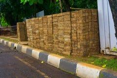 路面块土墩在雅加达拍的修造步行照片的印度尼西亚 免版税图库摄影
