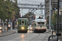 路面电车在回来的旧金山 库存照片
