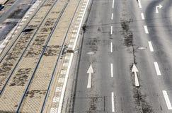 路面电车街道和路轨的样式在科隆 库存图片