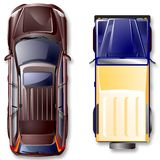 路顶层向量视图的汽车 免版税库存照片