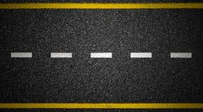 路顶视图 沥青高速公路标记 免版税库存照片