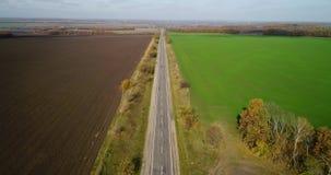 路鸟瞰图在秋天 与农村路的令人惊讶的风景在麦田附近 股票视频