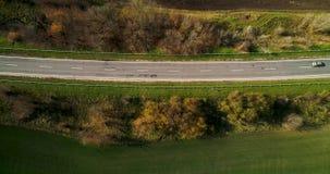 路鸟瞰图在秋天 与农村路的令人惊讶的风景在麦田附近 股票录像
